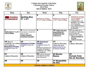 CSA Calendario PADRES DICIEMBRE 2015