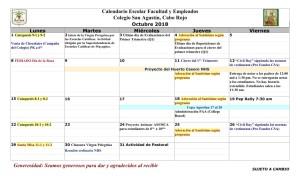 03 PADRES CSA Calendario octubre 2018