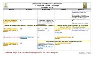 07 PADRES CSA Calendario febrero 2019