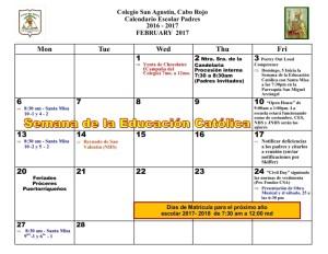 7 CSA Calendario FEBRERO 2017