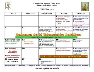 CSA Calendario PADRES 2017-2018 006 FEBRERO 2018