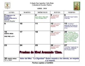 CSA Calendario PADRES 2017-2018 008 ABRIL 2018